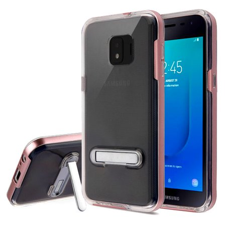 new arrival fe843 fdcc9 Samsung Galaxy J2 PURE Phone Case Shockproof Hybrid Bumper Rubber Silicone  Cover Transparent Clear Magnetic Metal Kick Stand Rose Gold Case for ...