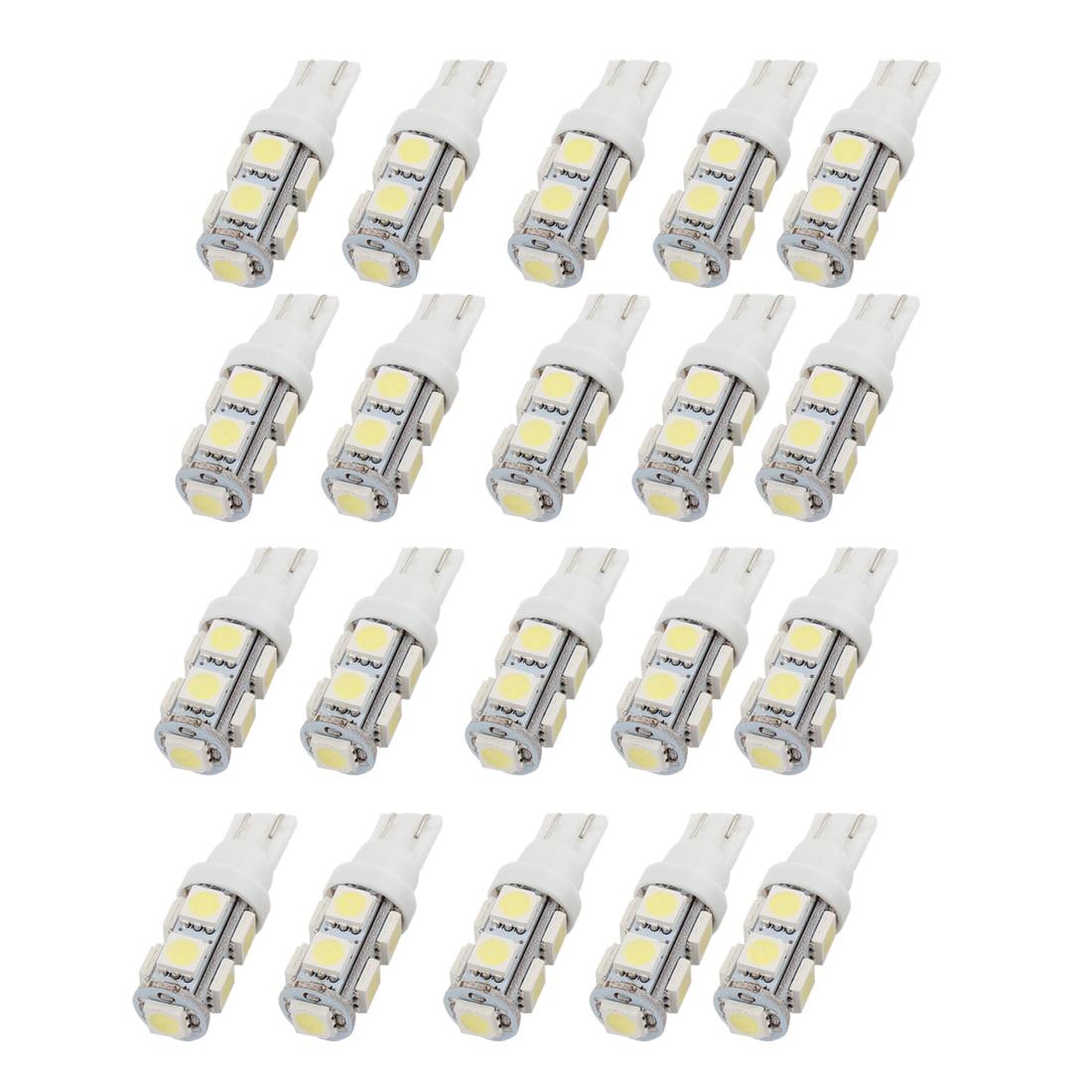 Unique Bargains White T10 194 192 168 W5W 5050 SMD 9 LEDs Bulbs Interior Side Wedge Light 20PCS