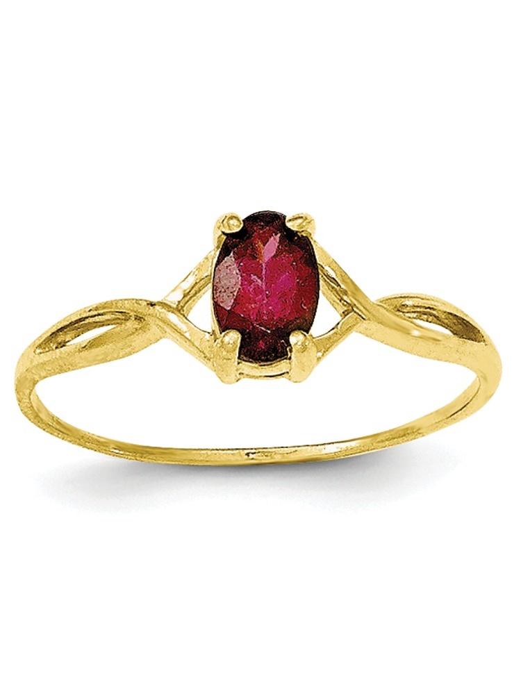 10K Yellow Gold Polished Geniune Rhodolite Garnet Birth Month Ring by