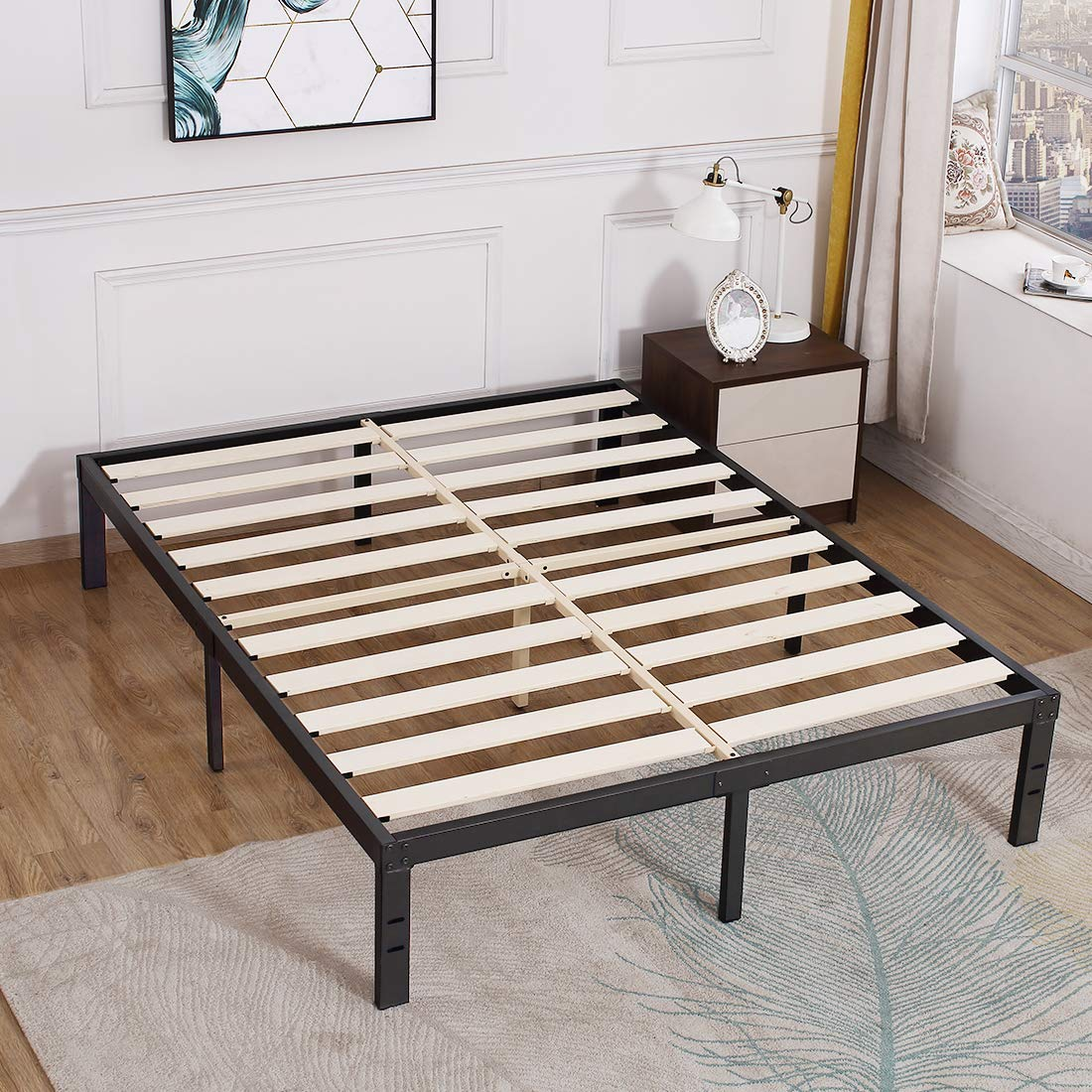 Tatago 3500lbs Upgraded Heavy Duty Wooden Slats Platform Bed Frame 14 Inch Tall Mattress Foundation Extra Strong Support No Noise No Box Spring Needed Queen Walmart Com Walmart Com