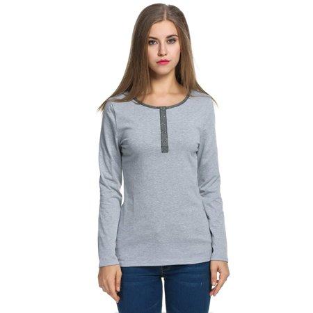 Women's Casual O-Neck Long Sleeve Button Front Slim Fit T-Shirt Tops HFON Casual Button Front Shirt