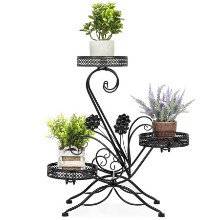Plants Patio Pots (Best Choice Products 3-Tier Decorative Metal Freestanding Plant and Flower Pot Stand Rack Display for Patio, Garden, Balcony, Porch with Scrollwork Design, Black)