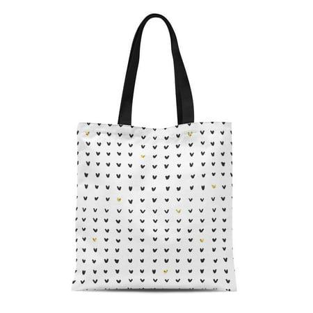 POGLIP Canvas Tote Bag Abstract Black Ink White and Doodle V Symbols Pattern Durable Reusable Shopping Shoulder Grocery Bag - image 1 of 1