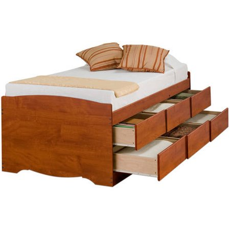 Cherry Tall Twin Captain ¢â -â ¢s Platform Storage Bed with 6 Drawers