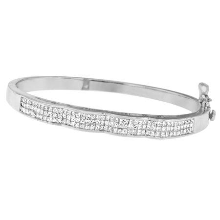 14K White Gold 3.33 ct. TDW Princess Cut Diamond Curved Bangle Bracelet (Tdw Diamond Bangle)