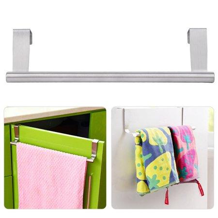 23cm Stainless Steel Towel Bar Holder Hook Storage Rack Door Hanging Kitchen - image 5 de 11