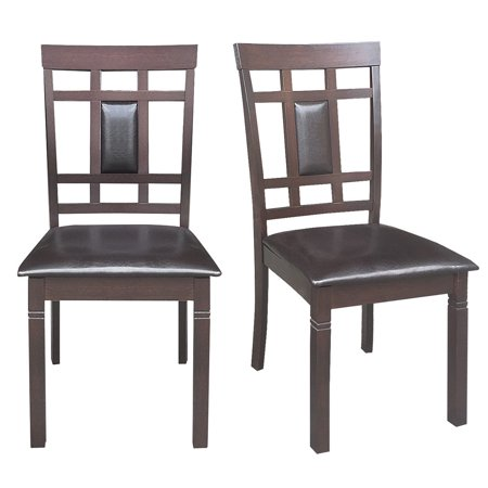 Gymax Set of 2 Dining Chairs PU Leather Upholstered Seat High Back Armless Furniture Color Slat Back Chair