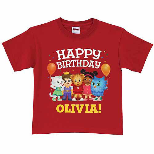 Personalized Daniel Tiger's Neighborhood Toddler Birthday Red T-Shirt In Sizes: 2t, 3t, 4t, 5/6t