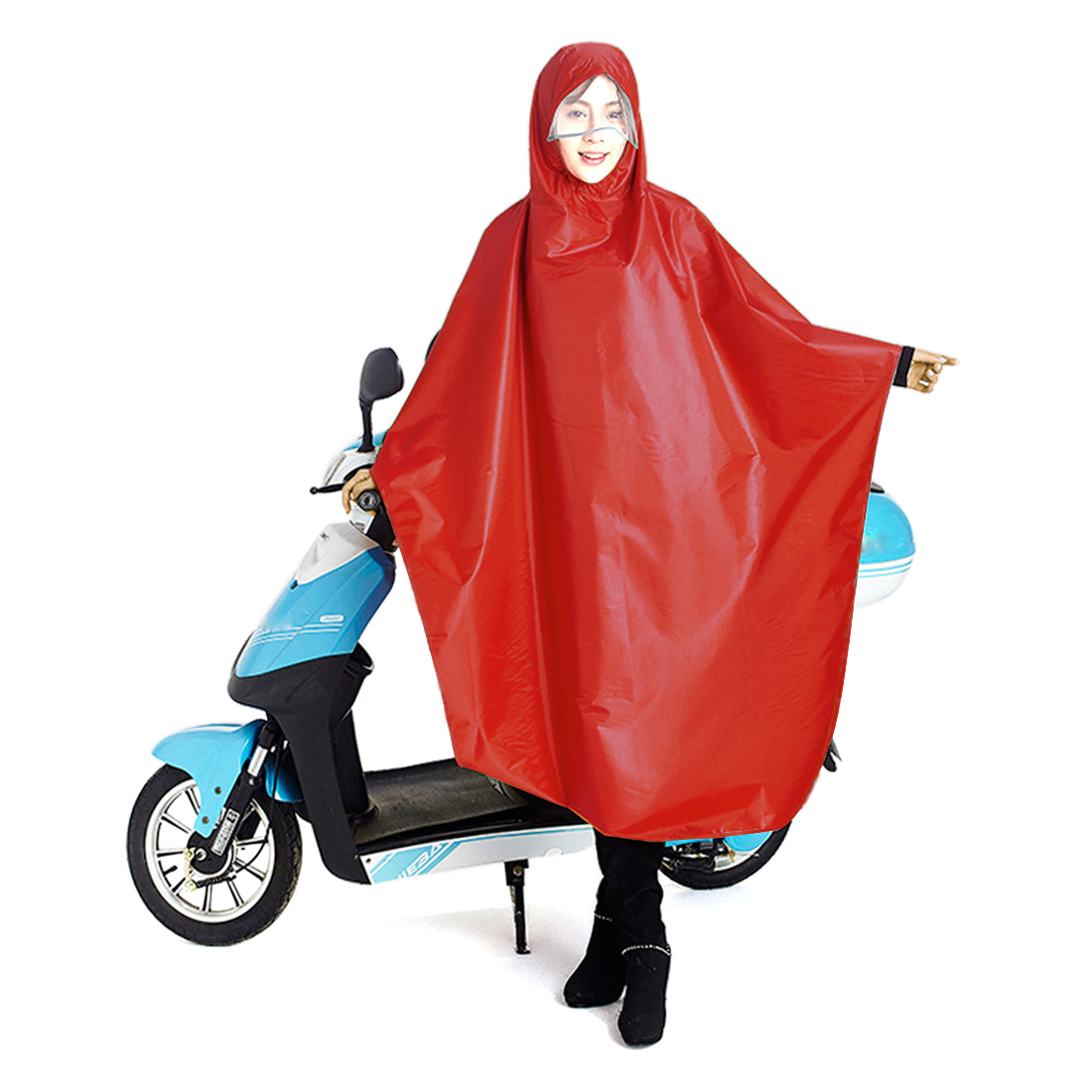 Click here to buy Red Adult Poncho Cycling Raincoat Bicycle Hooded Waterproof Rain Coat Cover by Unique-Bargains.