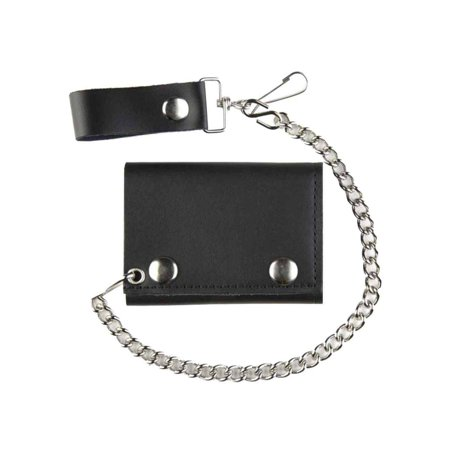 - Motorcycle Men's Tri-Fold Biker Chain Wallet, Black Genuine Leather TC304-23