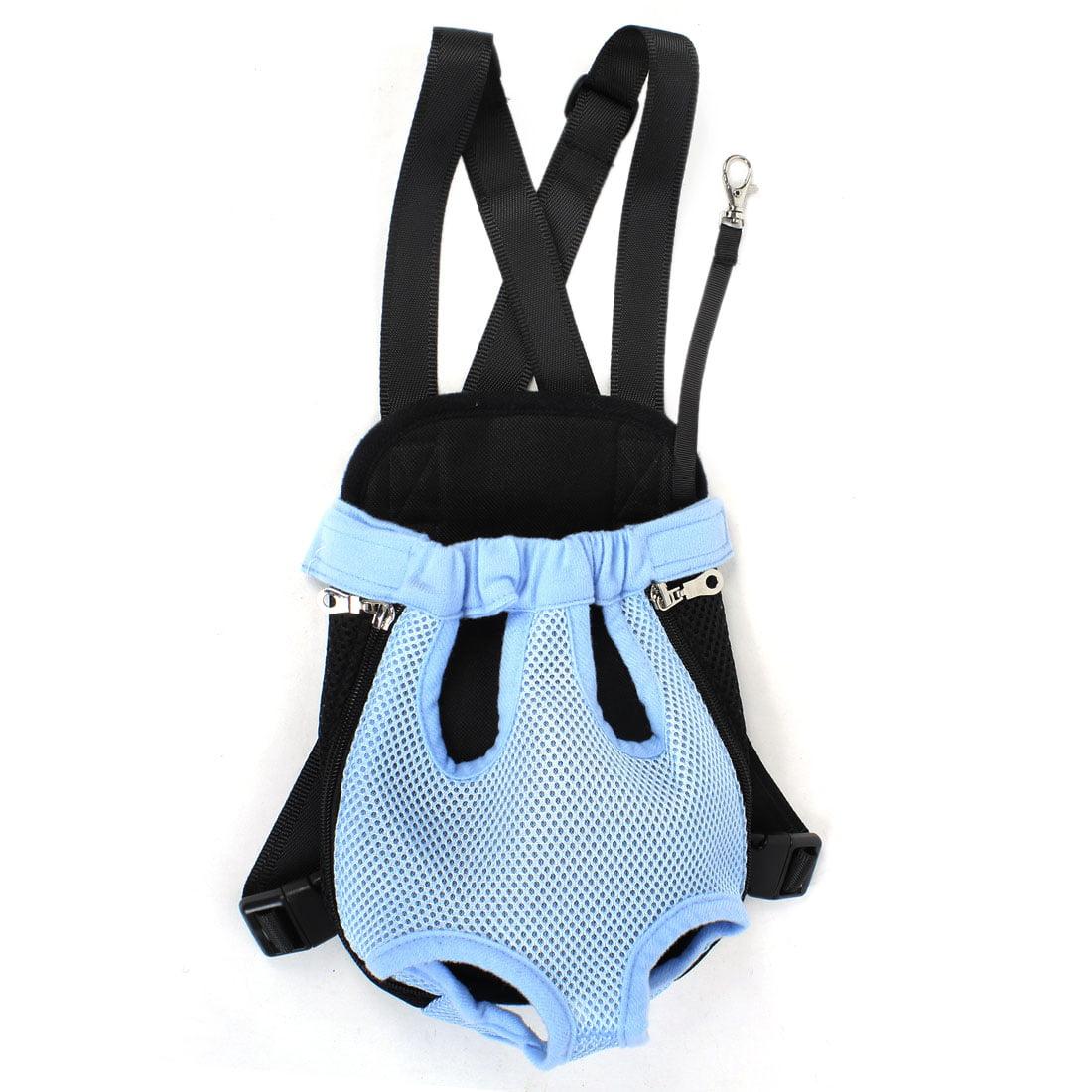 Unique Bargains Meshy Zipper Closure Release Buckle Pet Dog Backpack Bag S Black Blue