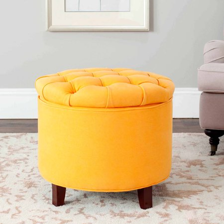Safavieh Amelia Tufted Storage Ottoman, Multiple Colors - Safavieh Amelia Tufted Storage Ottoman, Multiple Colors - Walmart.com