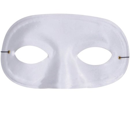 White Half Domino Mask Adult Halloween Accessory