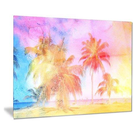 DESIGN ART Designart 'High-rise Retro Palm Trees' Landscape Painting Metal Wall Art
