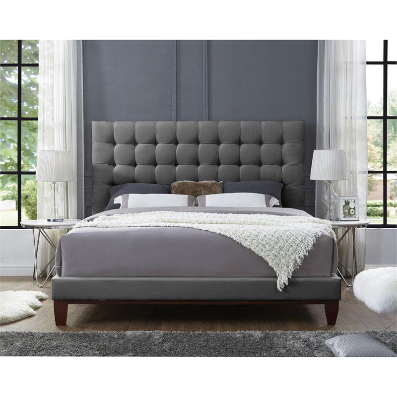 Blake Light Grey Linen Bed Frame - Queen Size - Tufted - Upholstered