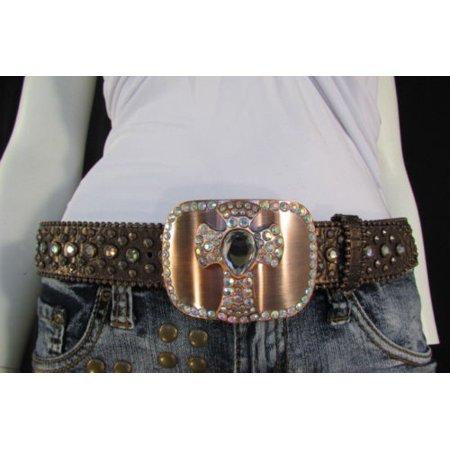 New Women Brown Genuine Leather Western Fashion Belt Metal Cross (Bke Cross Buckle Belt)