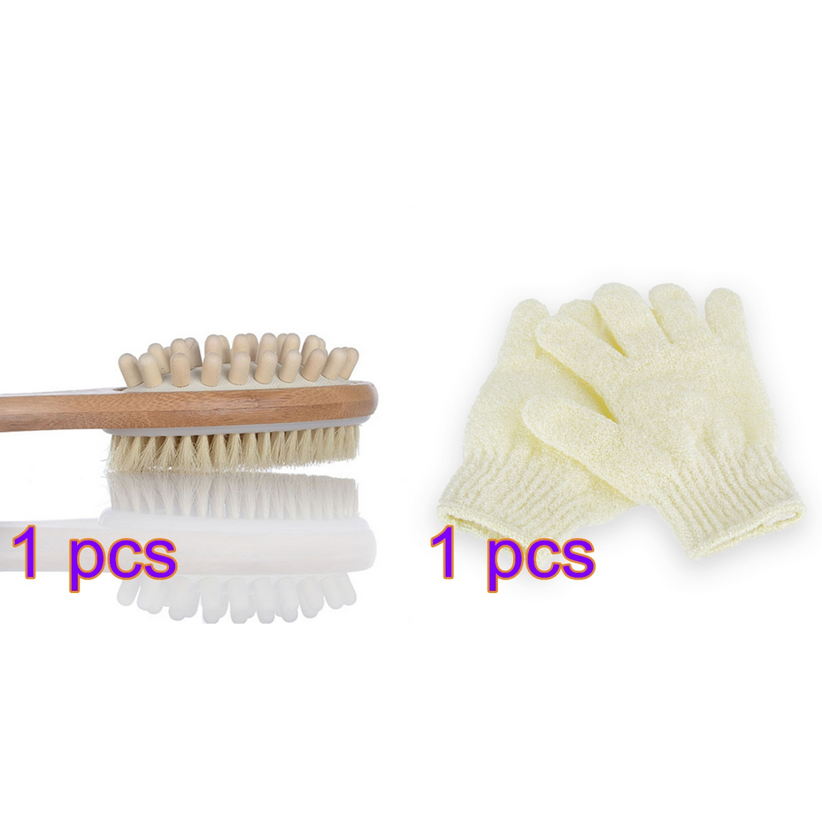 Bath Body Brush Natural Bristle Exfoliating Scrub Brush Double-Sided Body Shower Back Scrubber Brush with Long Handle