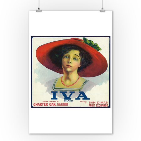Charter Oak  California   Iva Brand Citrus Label  9X12 Art Print  Wall Decor Travel Poster