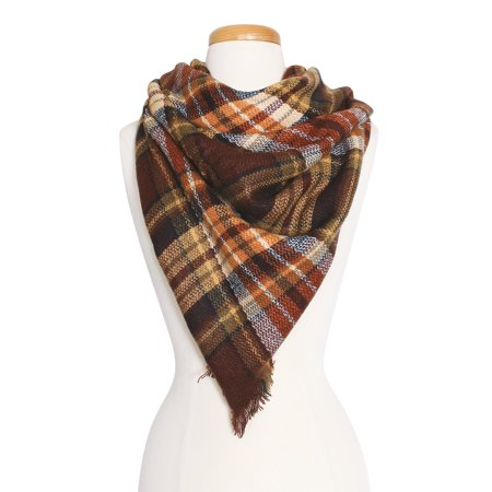 Women's Warm Plaid Pattern Tartan Multi Color Scarf for Cold Fall Winter Season for Women