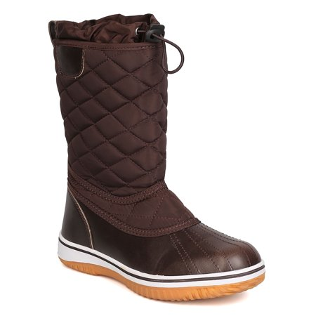 New Women Refresh Snow-01 Mixed Media Quilted Drawstring Snow Boot