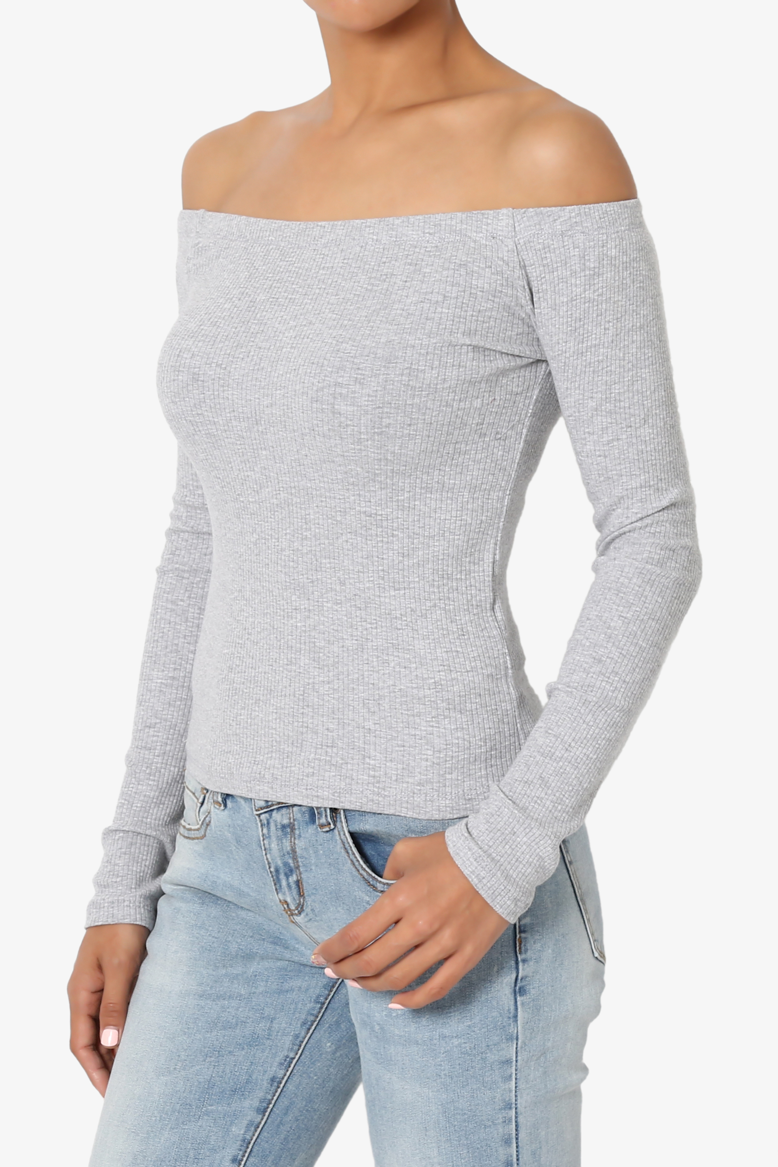 cfb38d593cdac TheMogan Junior s Off Shoulder Long Sleeve Stretch Ribbed Cotton Jersey Top  - Walmart.com