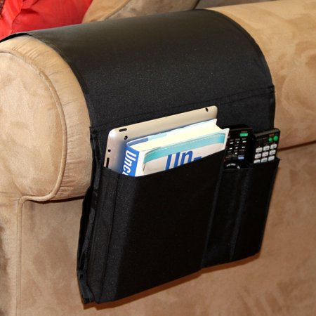 Sofa Couch Chair Armrest Caddy Pocket Organizer Great For Ipad   Remote  Game Controller   Newspaper   Book   Magazine Holder   Black