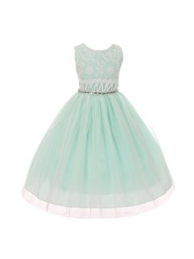 Little Girls Mint Lace Embroidered Bodice Bejeweled Waist Easter Dress