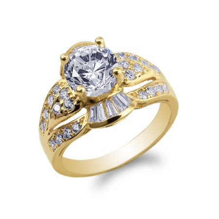 14K Yellow Gold 1.3ct Cubic Zirconia CZ Round Solitaire Ring Size 4-10