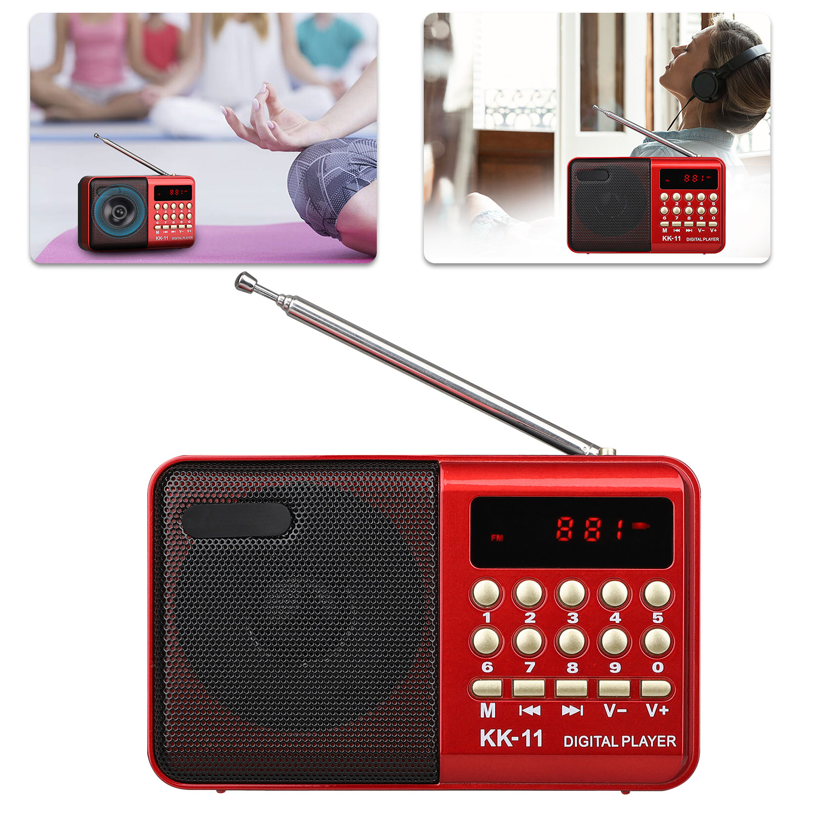 JKRED Portable MP4 Player with Dual Magnetic External Speaker 1.8 LCD Screen FM Radio Video Movie with Speaker TF Card Digital MP3 MP4 Media Player