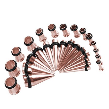 BodyJ4You Gauges Kit Tapers and Tunnels Rose Goldtone 12G-0G Stretching kit 28