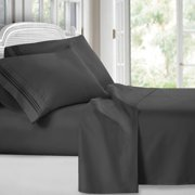 Clara Clark 1800 Series Deep Pocket 4pc Bed Sheet Set King Size, Charcoal Gray
