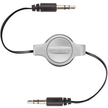 Scosche IU3.5RCSG - METALLIC COLOR RETRACTABLE 3.5MM AUXILIARY AUDIO CABLE (BLACK/SPACE GRAY) - Metallic Silver Audio