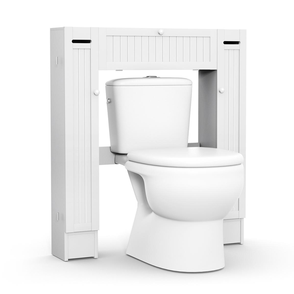 Allbest2you 5 Wooden Over Toilet Storage Cabinet Drop Door Spacesaver Bathroom White
