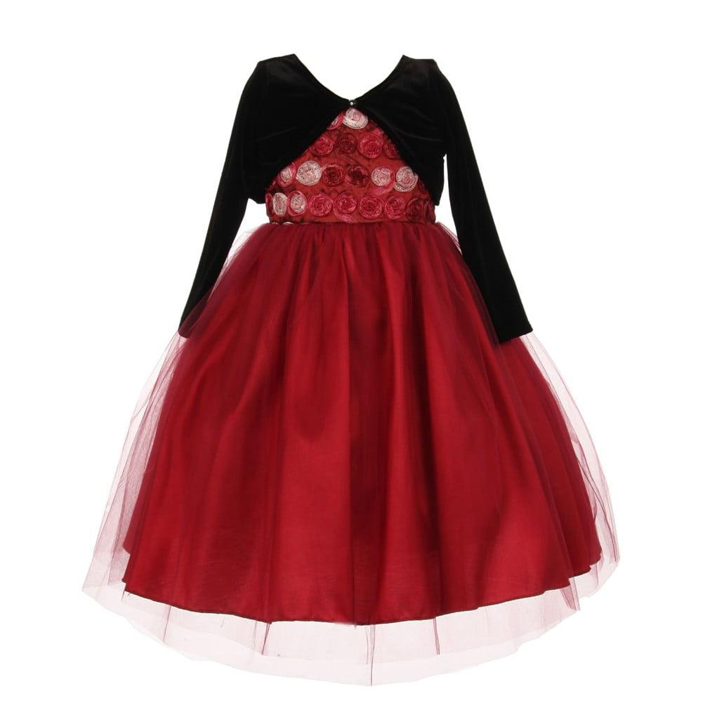 Little Girls Burgundy Rosette Velvet Jacket Tulle Special...