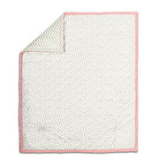 The Peanut Shell Baby Crib Quilt - Metallic Gold Dot and Zig Zag Chevron with Coral Pink Trim - 100% Cotton Sateen Fabrics, 44 by 37 Inches