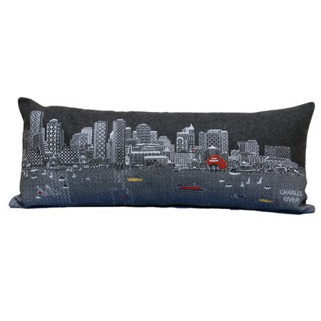 Beyond Cushions Boston Night Skyline Queen Size Embroidered Accent Pillow](Accents Beyond)