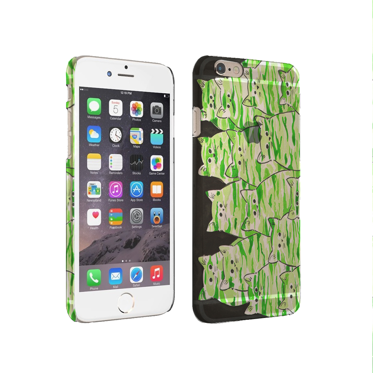 KuzmarK iPhone 6 Clear Cover Case - Green Camo Camouflage Kitties Abstract Cat Art by Denise Every
