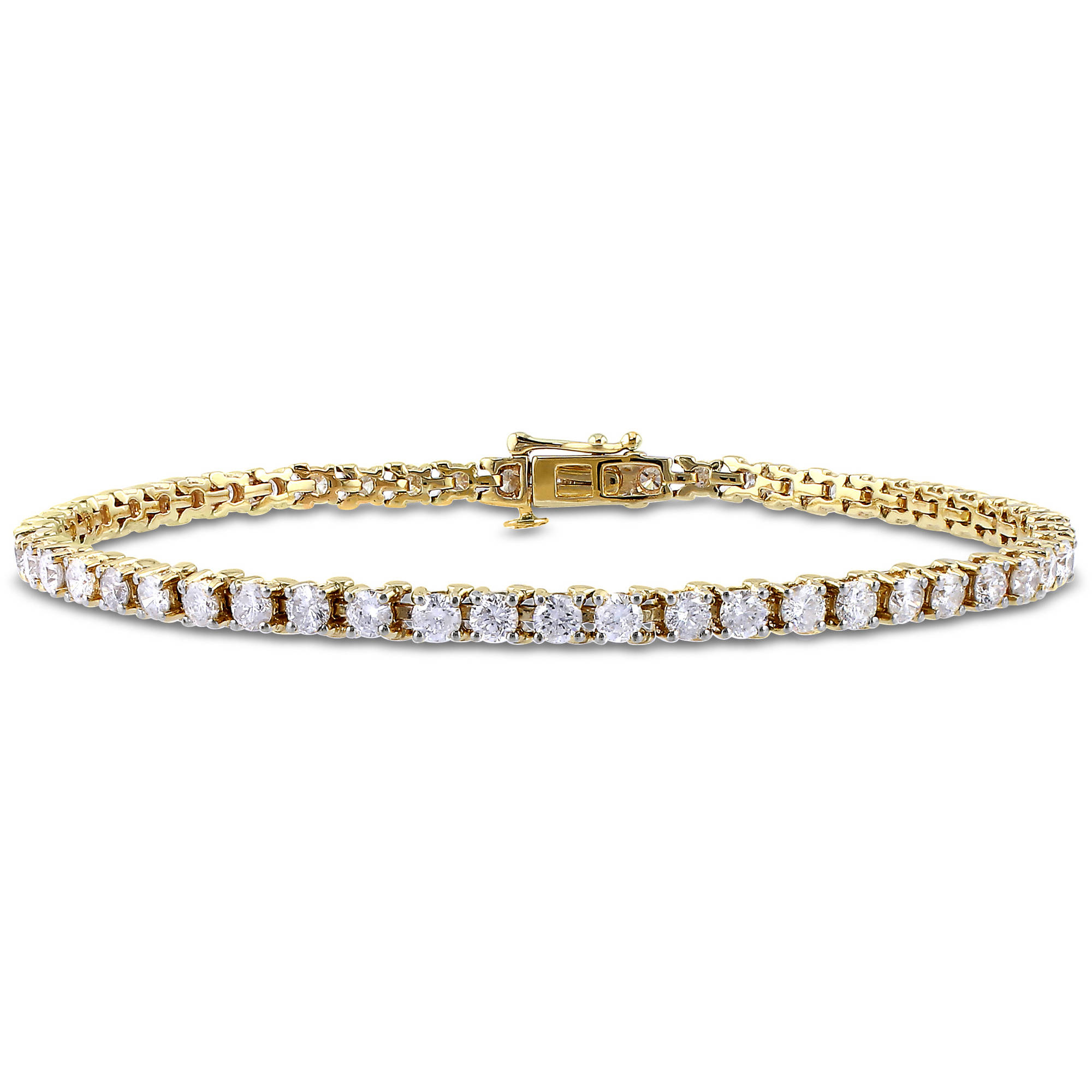 "Miabella 4 Carat T.W. Diamond 14kt Yellow Gold Tennis Bracelet, 7.25"" by Generic"