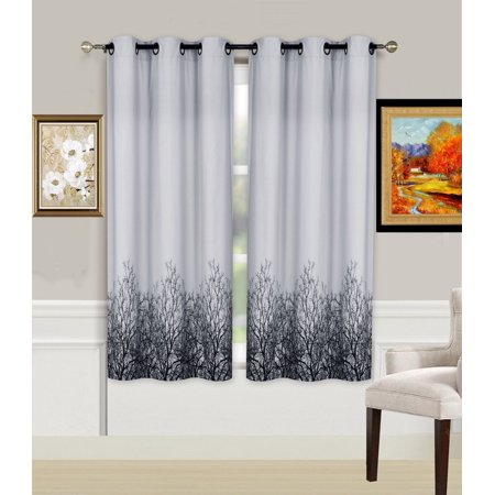 1-Piece TREE Printed Lined Blackout Grommet Window Curtain Treatment, One (1) Floral Pattern Room Darkening Panel 37