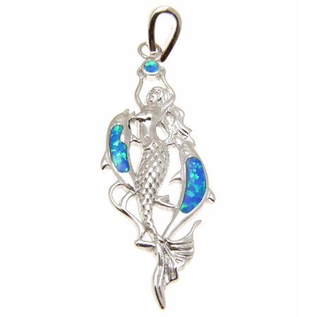 925 Sterling silver inlay synthetic opal Hawaiian dolphin mermaid pendant