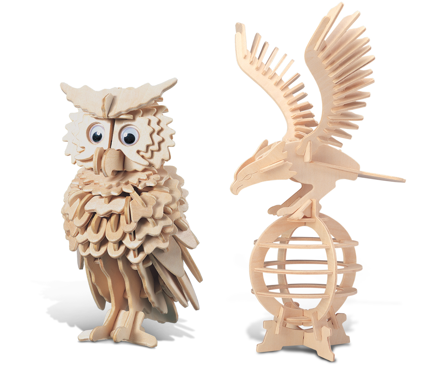 Puzzled Eagle and Owl Wooden 3D Puzzle Construction Kit by Puzzled Inc
