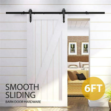 - 6 Ft Interior Black Steel Single Sliding Barn Closet Door Hardware Track System Kit Set