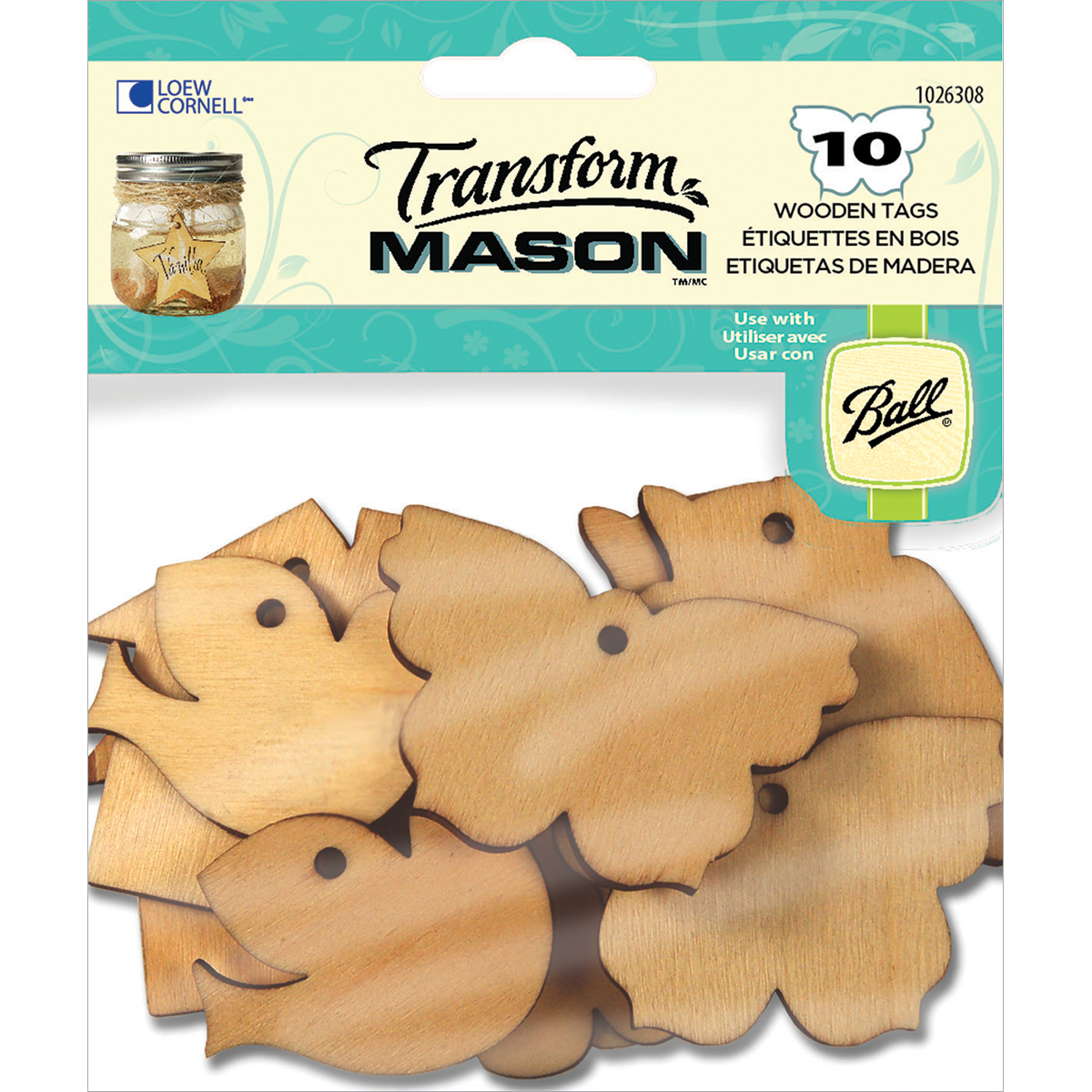 Loew-Cornell 1026-308 Wooden Tags, Home Sweet Home, 10-Pack Multi-Colored