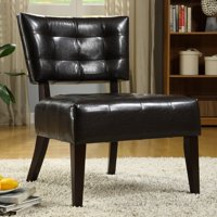 Top Line Tufted Faux Leather Accent Chair, Multiple Colors