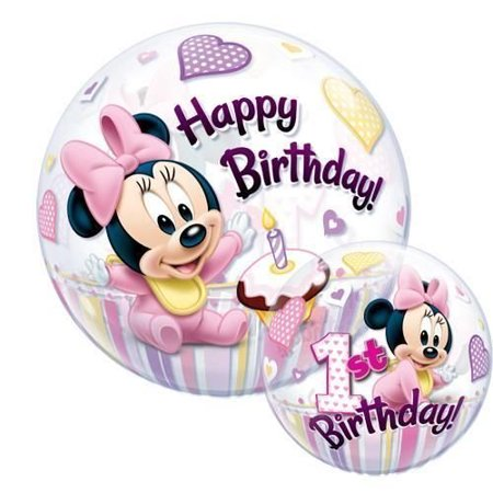 Minnie Mouse 1st Birthday Qualatex 22 Inch Bubble Balloon, By Mickey Minnie Mouse