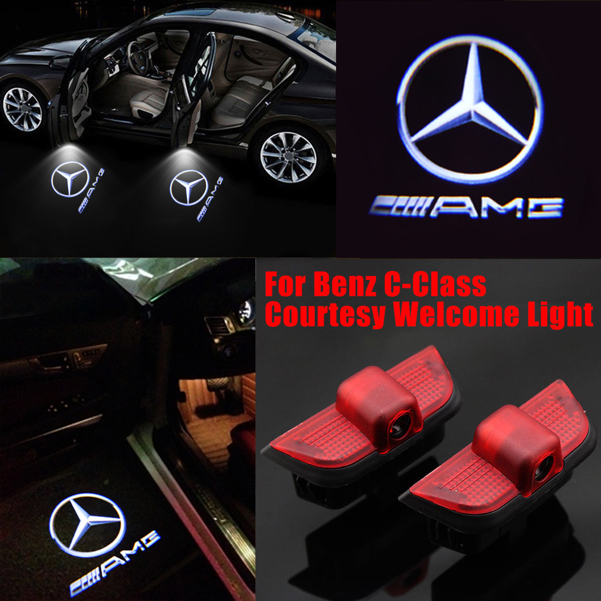 2Pcs Wireless Car Projection Cree LED Projector Door Ghost Shadow Light Benz Logos & 2Pcs Wireless Car Projection Cree LED Projector Door Ghost Shadow ...