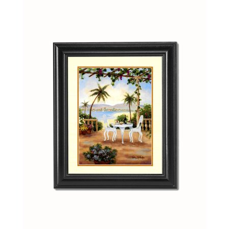 Mediterranean Scene White Chair Black Framed 8x10 Art Print