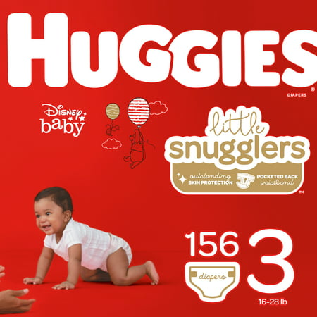 HUGGIES Little Snugglers Diapers, Size 3, 156 (Huggies Little Movers Diaper Pants Size 4)