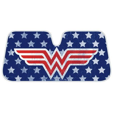 Wonder Woman Auto Sun Shade - Windshield Car Sunshade - Red Logo Blue Background w/ Stars