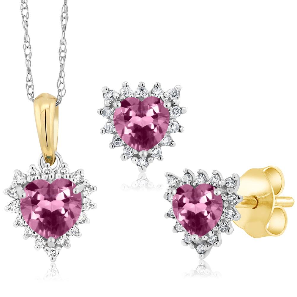 18K Two Tone Gold 1.17 Ct Heart Pink Tourmaline and Diamond Pendant Earrings Set by Tourmaline Sets